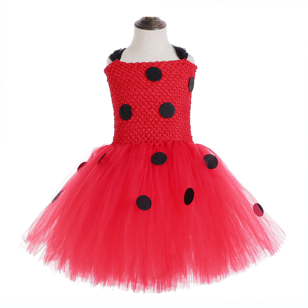 Red Ladybug Party Tutu Dress Kids Clothes Spring Knee Length Black Dot Dress Halloween Ladybug Costume with Ladybug Mask Bag 12Y (3)