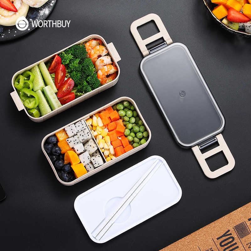 WORTHBUY, японская микроволновая печь, коробка для бэнто, Пшеничная солома, детский Ланч-бокс, герметичный, бенто, Ланч-бокс для детей, школьный контейнер для еды