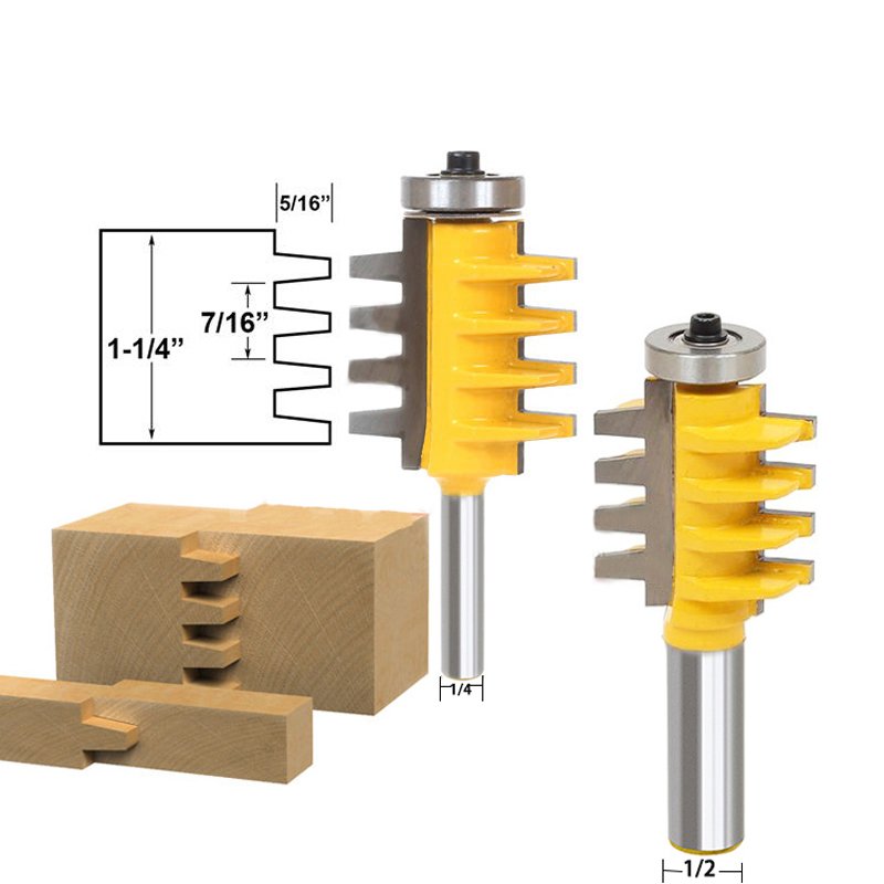 1/2, 1/4 Shank Rail Reversible Finger Joint Glue Router Bit Cone Tenon Woodwork Cutter Power Tools 2 pcs 1 2t type shank 3teeth tenon cutter 4mm reversible glue bits of high quality dovetail router bits box joint router bit