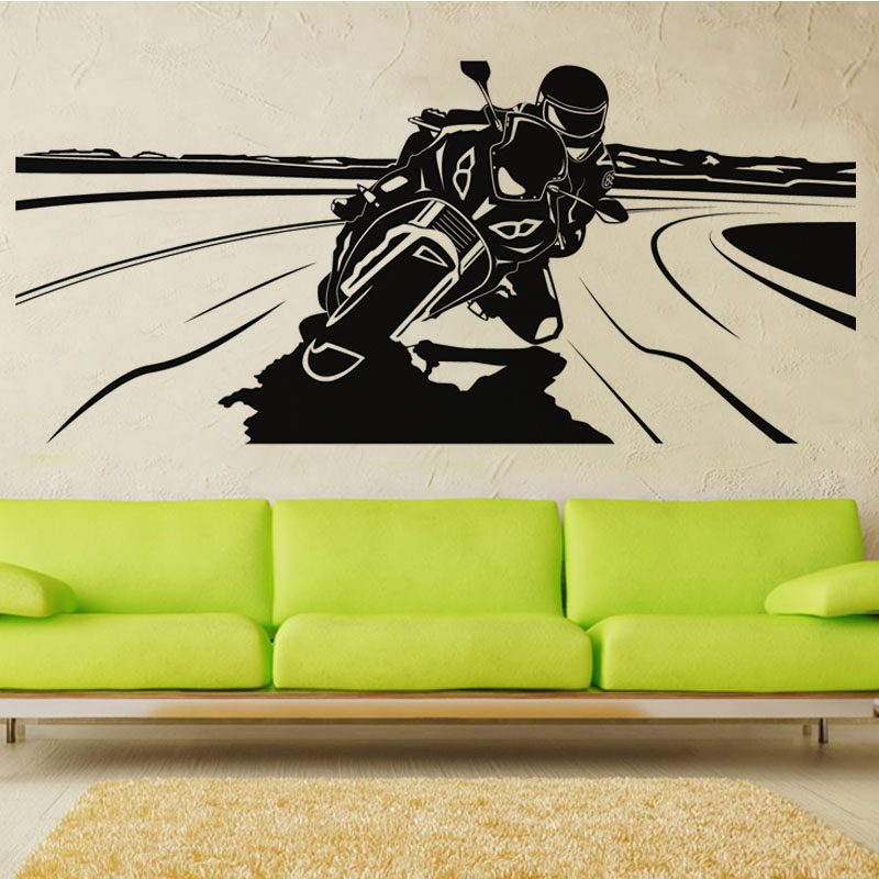 Exceptional Motorcycle Wall Stickers Part - 4: Racing Driver Riding Motorcycle Wall Decal Sticker Vinyl Removable Hollow  Out Art Home Decor Wall Mural