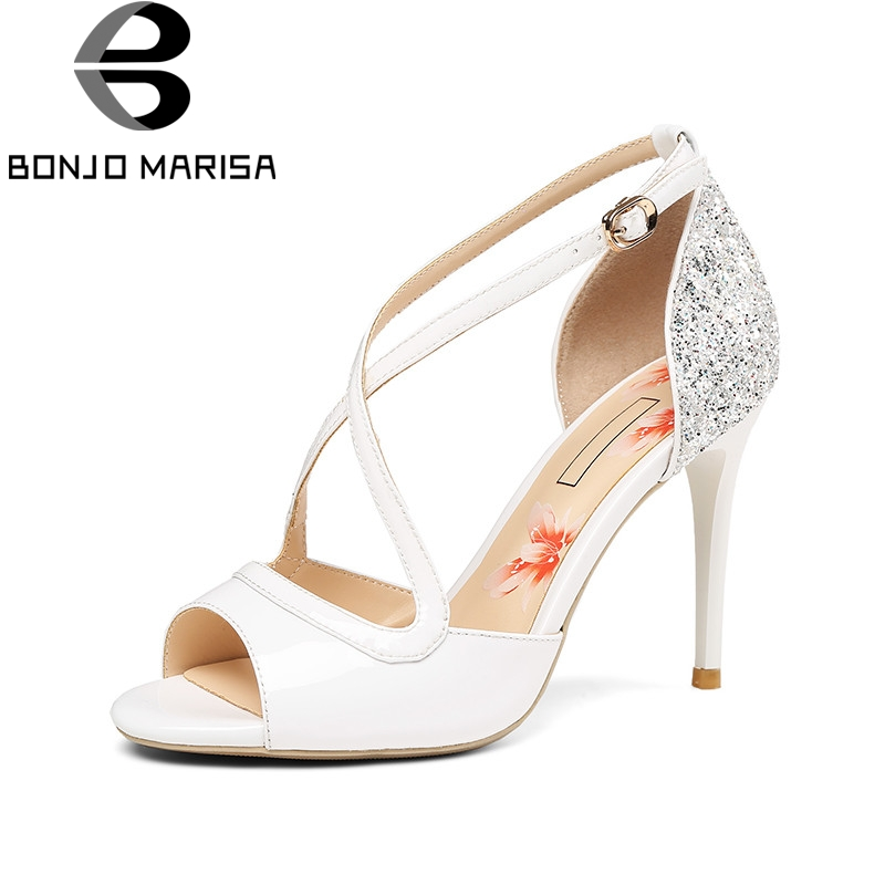 BONJOMARISA 2018 Summer Brand Lady Genuine Leather Women Sandals Lady Glitters Party Shoes Woman Elegant High Heels Date Shoe phyanic 2017 gladiator sandals gold silver shoes woman summer platform wedges glitters creepers casual women shoes phy3323