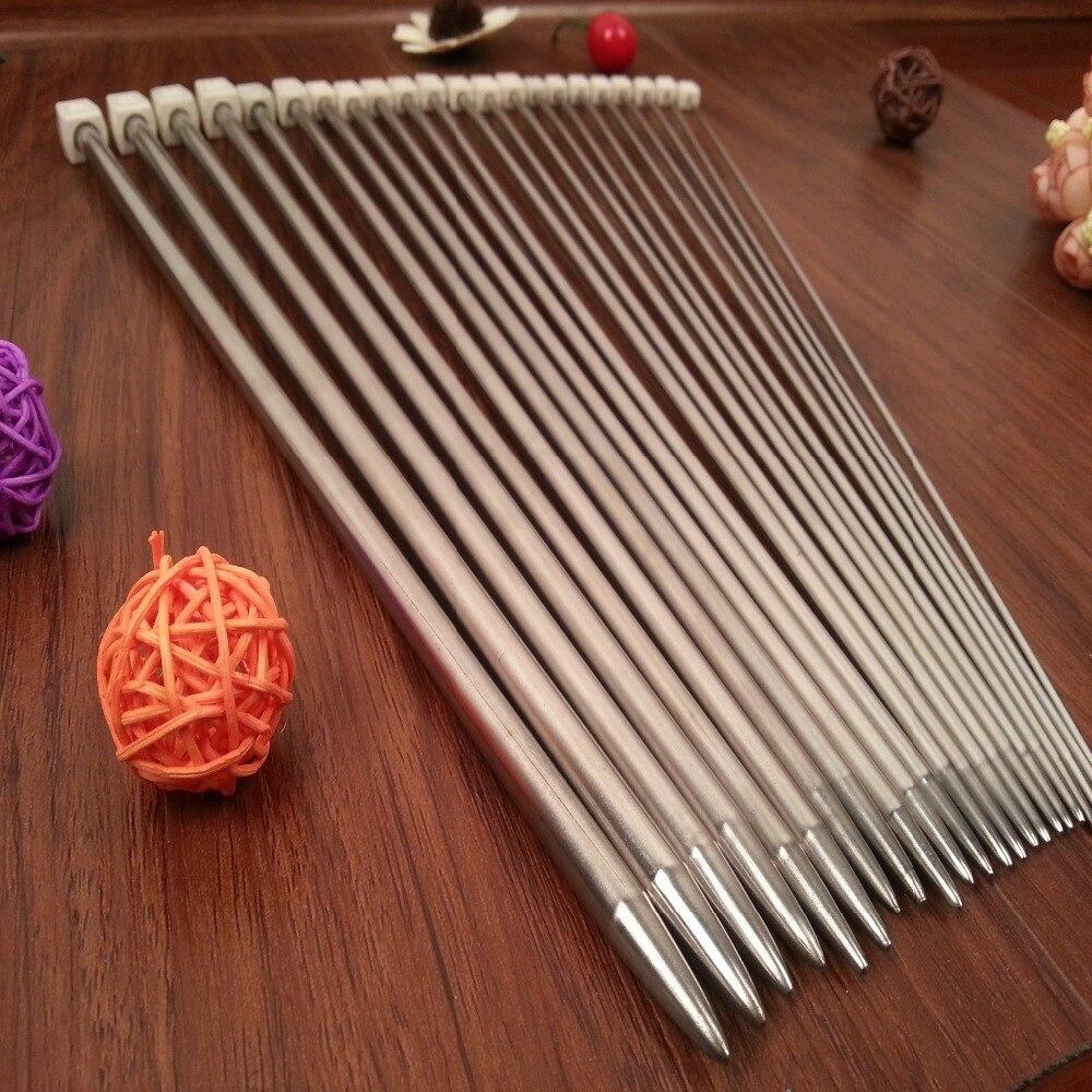 11 pièces/ensemble 25 cm/35 cm en acier inoxydable unique pointu aiguilles à tricoter Crochet outil Crochet artisanat aiguilles à tricoter ensemble 2.0mm-8.0mm