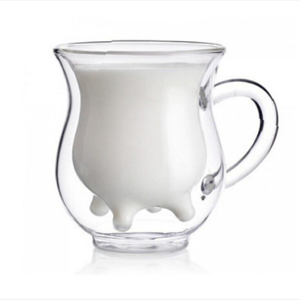 Double Layer Cute Milk Mug Heat-resistant Glass Cow Cups Clear Milk Cup for Kids Milk Water Juice Coffee Mugs Drinking Container
