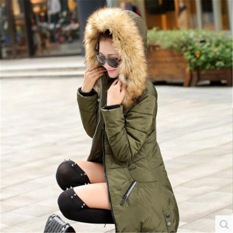 2017 Winter Women Cotton clothing Female Long Hooded Parka Jacket Thick Cotton Padded Outwear Fashion Black Red Army Green Coats