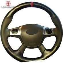 LQTENLEO черный кожаный чехол рулевого колеса автомобиля из углеродного волокна для Ford Focus 3 2011- KUGA Escape 2013- C-MAX 2011