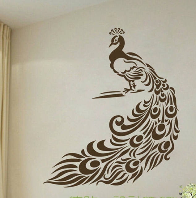 Peacock Wall Stickers Art Decor   Wonderful Peacock Vinyl Wall Decals For  Home Living Room Decoration