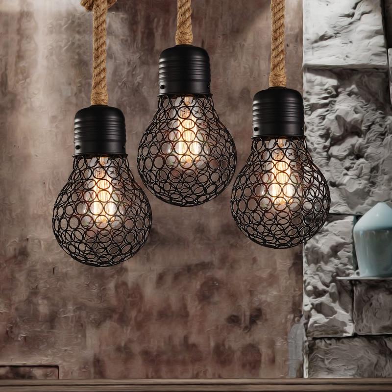 Vintage industriel pendentif lumières grandes ampoules lampe restaurant/bar décoration de la maison salle à manger luminaire lampara pully rétro lumière