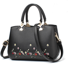 Bolsa feminina de couro do plutônio bolsa feminina bolsa de ombro crossbody flor bordada rebites moda estilo chinês