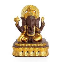 Ganesha Smoke Waterfall Incense Burner Chinese Gold Ceramic Animal Gold Censer Backflow Incense Burner Traditional Home Decor