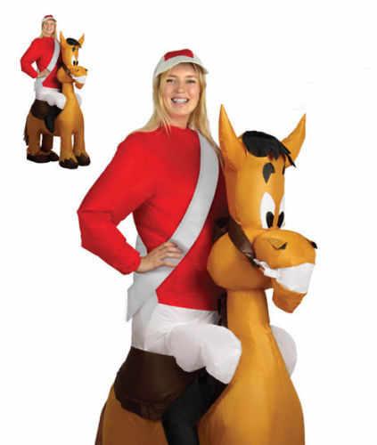 Подробнее Обратная связь Вопросы о Взрослый надувной конь и жокей костюм  маскарадный наряд скачки подвязка для невесты ночь для рождественского  карнавала ... cf0fa8c38aae5