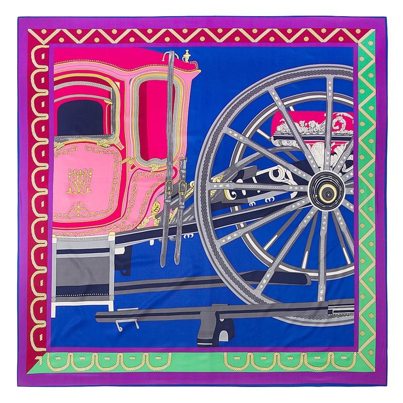 POBING Luxury Brand 100% Silk Scarf Women Geometric Carriage Wheels Pattern Silk Scarves&Wraps Female Foulard Big Neckerchief