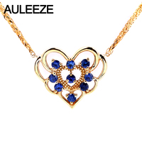 AULEEZE Romantic Natural Sapphire Wedding Pendants For Women Heart Shaped 18K Yellow Gold Gemstone Pendant Necklace Fine Jewelry