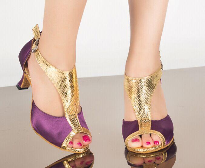 Wholesale Ladies Purple Satin Snakeskin Print Straps Ballroom Dancing Shoes Latin SALSA Shoes for women Tango Shoes