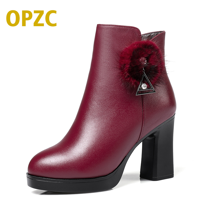 OPZC2018 new genuine leather ankle boots for women fashion women's solid thick high heel lace up ankle boots buckle martin shoes sfzb new square toe lace up genuine leather solid nude women ankle boots thick heel brand women shoes causal motorcycles boot