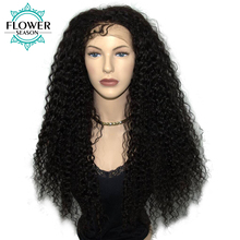 FlowerSeason 180% Density Pre Plucked Kinky Curly 13*6 Deep Part Lace Front Human Hair Wigs For Black Women Brazilian Non Remy