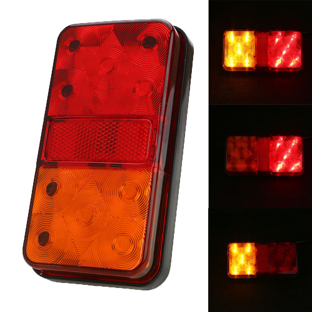 Vehemo 12V 10 LED Truck Trailer Tail Light Stop Indicator Turn Signal Taillight 12v 3 pins adjustable frequency led flasher relay motorcycle turn signal indicator motorbike fix blinker indicator p34