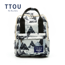 Фотография TTOU Design Geometric Printing Backpack Teenage Girls School Bag Women Backpack Travel Bag Large Capacity Can be Portable Bag
