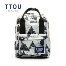 hot deal buy ttou design geometric printing backpack teenage girls school bag women backpack travel bag large capacity can be portable bag