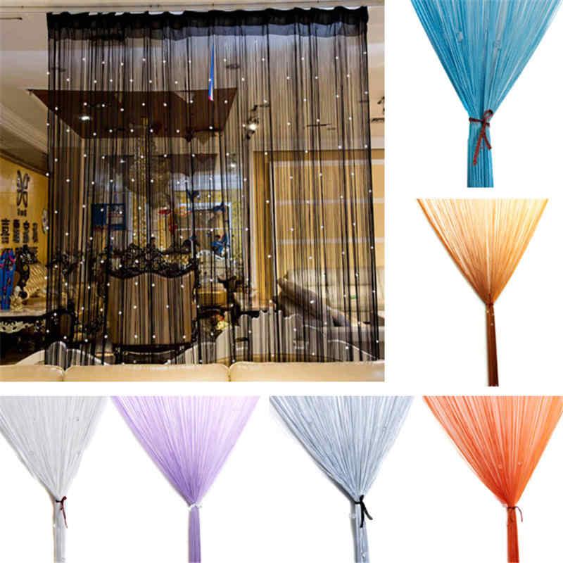 ผ้าม่าน String ประตูหน้าต่างห้องแผง Glitter คริสตัล Ball Tassel String ประตูหน้าต่างม่านห้อง Divider ตกแต่ง