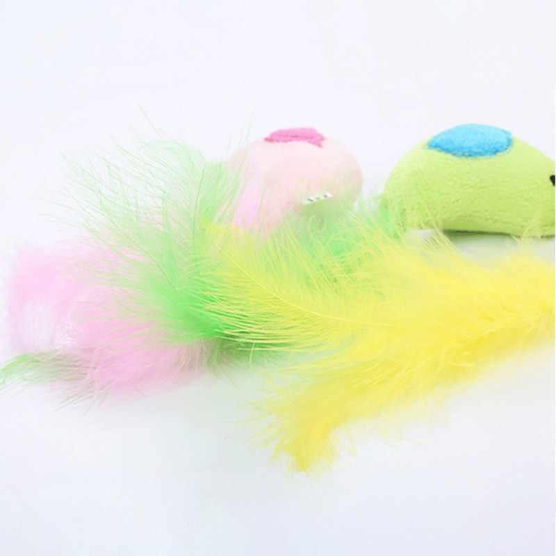 Longas Penas Da Cauda Multi-cores Pássaro Gato de Brinquedo de Pelúcia Engraçado Mordida Pet Gatos Forma de Pássaro de Pelúcia Brinquedo Divertido Jogar interativo Suprimentos