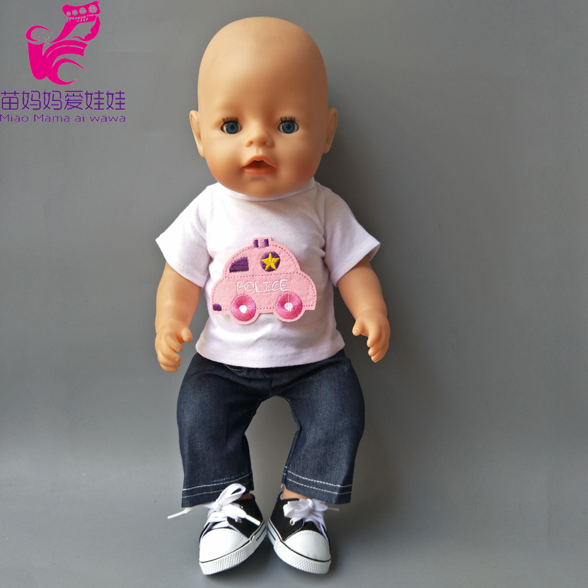 43cm Baby Born Dolls boy Clothes White Summer shirt and Jean pant 18 Inch doll Clothes set dress up practise education toy