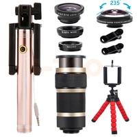 8X Telephoto Zoom Camera lens Kit 235 degrees Fisheye Lentes Wide Angle Macro Lenses For HUAWEI P9 P10 PLUS Honor8 9 V8 V9 mate9