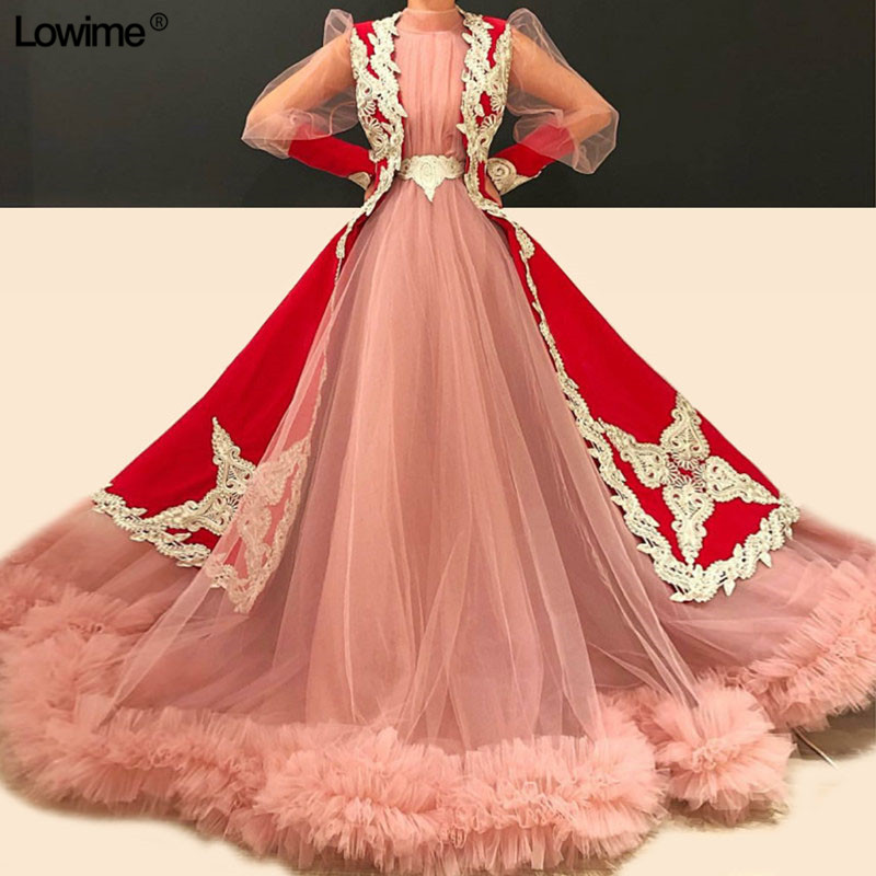 Pink Tulle Red Stain Couture Quinceanera Dresses Long Sleeves Turkish Appliques Lace Sash 2019 vestidos de 15 anos vestidos