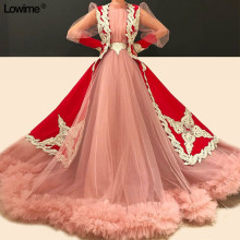 Lowime Pink Tulle Red Quinceanera Dresses Long Sleeves