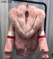 Курточка бомбер Для женщин 2018 большой натуральный Лисий меховой воротник короткая парка пальто женские розовые толстый теплый натуральный