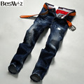 Beswlz Brand Men Hole Denim Jeans Straight Slim Male Cowboy Jeans Pants Fashion Classical Casual Style Men Blue Jeans 9518