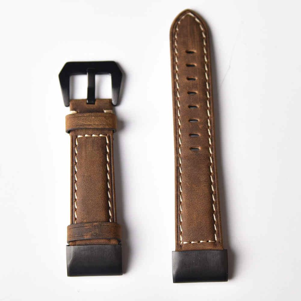 26mm 22mm 20mm אמיתי עור קל Fit שעון רצועת עבור Garmin Fenix 5X5 5S בתוספת 3 3HR מהיר שחרור רצועת השעון צמיד ספורט