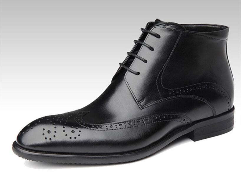 Sipriks Mens Black Dress Boots Fashion Rubber Sole Brogue Boots Mens