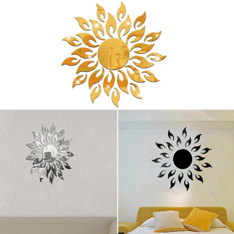 OOTDTY Acrylic DIY Removable 3D Wallpaper Sparkly Sun Mirror Wall Sticker Mural Decal Home Decoration Silvery/Golden/Black