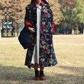 Jn015 estilo chino de pie cuello de la impresión floral de lino de algodón acolchado suelta de manga larga maxi robe mujeres abrigo de invierno