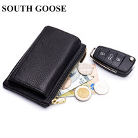 SOUTH GOOSE 2018 New Fashion Car Key Wallets Men Genuine Leather Multi Function Wallet Women Credit Card Holder Coin Purses