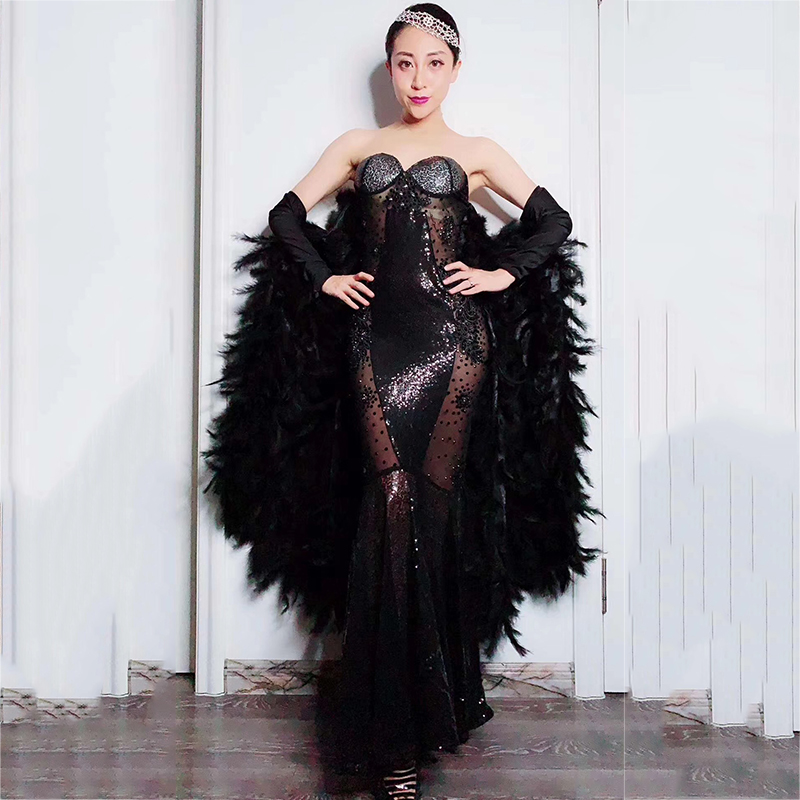 Flashing Black Rhinestone Feather Sleeves Dresses Nightclub Women Singer Dance Mesh Dress Prom Party Birthday Bar Suits DT1019