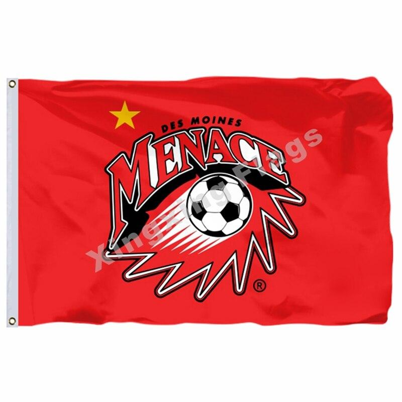 Des Moines Menace Flag 3ft X 5ft Polyester North American Soccer USL PDL Banner Size 4 144* 96cm Custom Flag