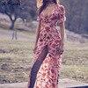 2017 New Female Printing Sexy Deep V Neck Chiffon Elegant Backless Summer Holiday Beach Dress