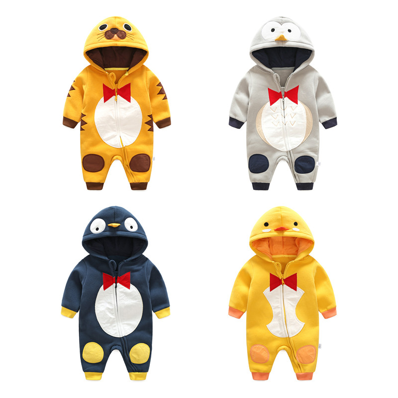 Cotton Baby Rompers Winter Baby Boy Clothes Baby Girl Clothes Cartoon Newborn Baby Clothes Hooded Roupas Bebe Infant Jumpsuits