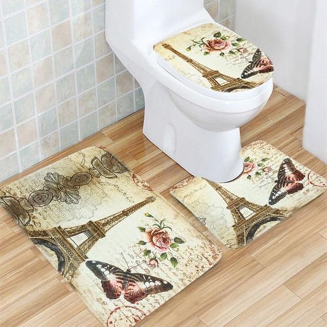Antypoślizgowe łazienka cokole pokrywa mata wc dywan zestaw wieża eiffla 3 sztuk/zestaw wystrój domu zestawy akcesoriów łazienkowych