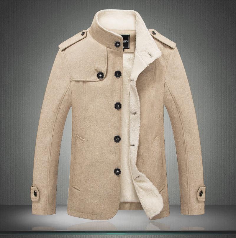 Männlich Wolle Mischung Männer Mantel Winter Männer Mantel Mode Marke Kleidung Fleece Gefüttert Dicke Warme Woll Mantel Reine WeißE