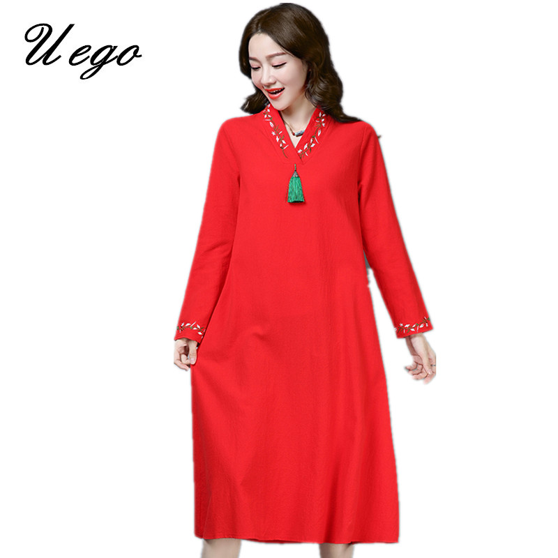 Uego Cotton Linen Long Sleeve Spring Dress Fashion Tassel Embroidery Floral Vintage Dress V-neck 2019 Women Casual Midi Dress