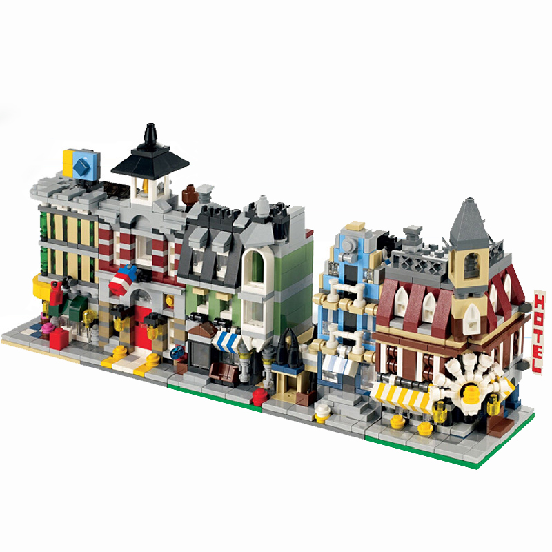 City Mini Street Store Series Creators Cafe Corner Town Fire Brigade Shop Model Building Block For kid Birthday Gift Legoingly jie star fire ladder truck 3 kinds deformations city fire series building block toys for children diy assembled block toy 22024