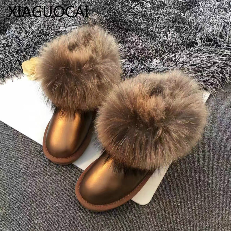 2017 Winter High quality Cowhide Girls snow boots 100% Genuine Leather Fox Fur warm baby shoes short ankle for children A49 27 2017 brand designer warm velvet sports children ankle boots kids girls winter genuine leather shoes infant boys toddler sneakers