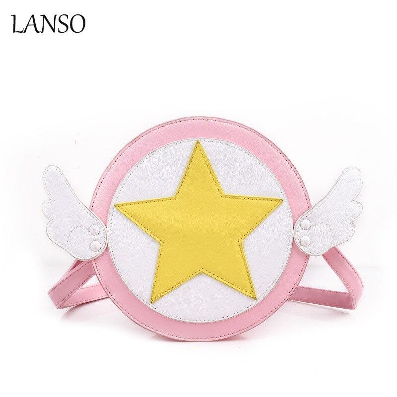 Variety Sakura Card Captor Sakura Cute Girl Round Shoulder Bag Cartoon Cosplay Messenger Circular Handbag Lolita