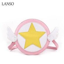Vielzahl sakura karte captor sakura nettes mädchen runde umhängetasche cartoon cosplay messenger rund handtasche lolita winkel wings tasche