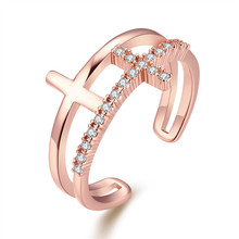 Fashion rose gold plated cross ring with CZ diamond jewelry opening Simple elegant style top quality global hot