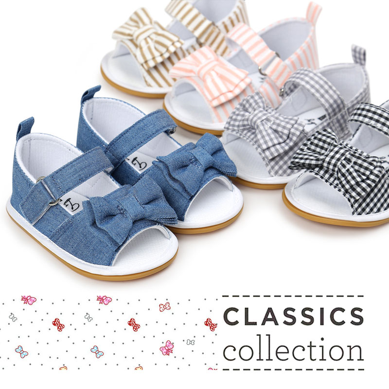 2019 New Stripe Bowtie Cute Hard Rubber Baby Moccasins Child Summer Girls Sandals Sneakers First Walkers Infant Fabric Shoes
