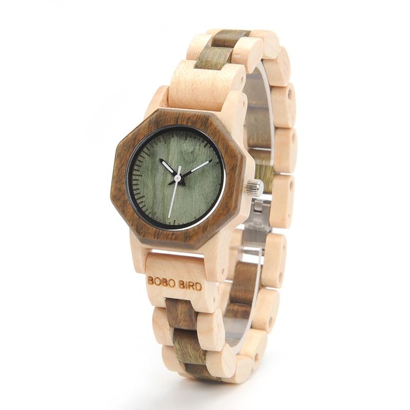 2017 New Brand BOBO BIRD Wooden Watches Women Octagon Watch Lady Bracelet Wristwatches Luxury relogio feminino B-M25 2017 new design bobo bird luxury brand women wood watches bamboo quartz wooden watch relogio feminino c d21
