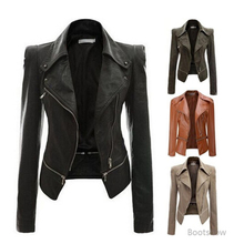 Otoño mujer Faux chaqueta de cuero slim fit motocicleta chaqueta con  cremallera cuero casual escudo abrigos cedd4f279208